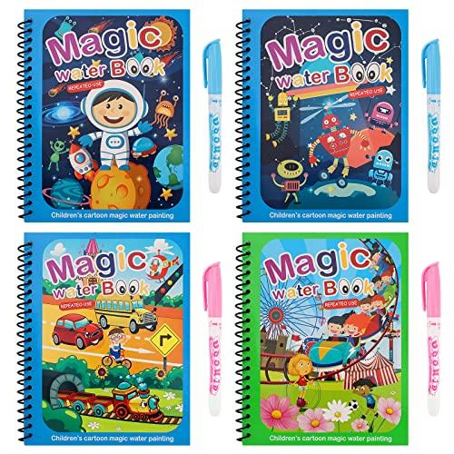 4 pezzi Libro di pittura ad acqua per bambini, libri di pittura magica Attività di viaggio Giocattolo Libro da disegno per bambini Libro da disegno per bambini Ragazzi Ragazze presenti