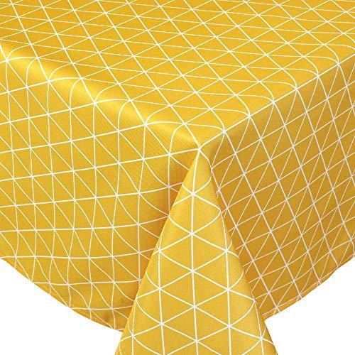 Nappe carrée 170x170 cm imprimée 100% polyester PACO géométrique jaune Maïs