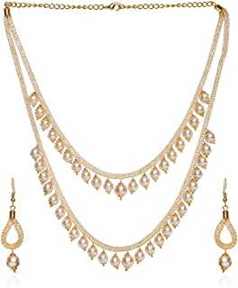 Frolics India Collection Indian Two Layer Long Look Bridal Designer Jewelry Necklace Set for Women
