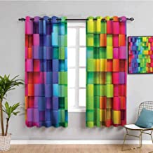 Colorful Home Decor Room Darkened Heat Insulation Curtain Rainbow Color Contour Display Futuristic Block Brick Like Geometric Artisan Bring Beauty W55 x L39 Inch Multi
