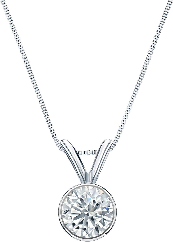 New products, world's highest quality popular! Platinum Bezel Set Round-Cut Diamond Solitaire ct 1 Pendant Reservation 5-1