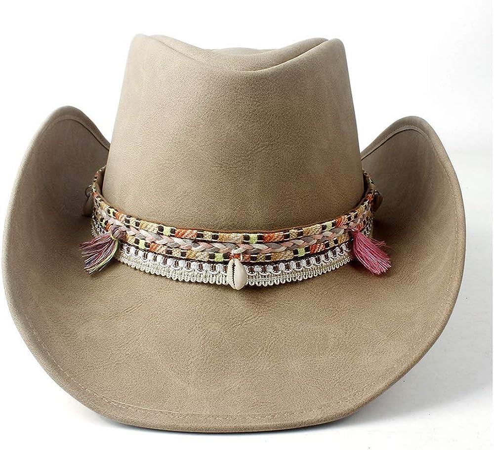 sun sale hat Women Wide Brim Max 79% OFF Leather Hat Cowgirl Western Cowboy W
