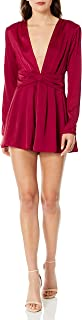 ASTR the label Women's Friday Long Sleeve Plunging Short Silky Romper