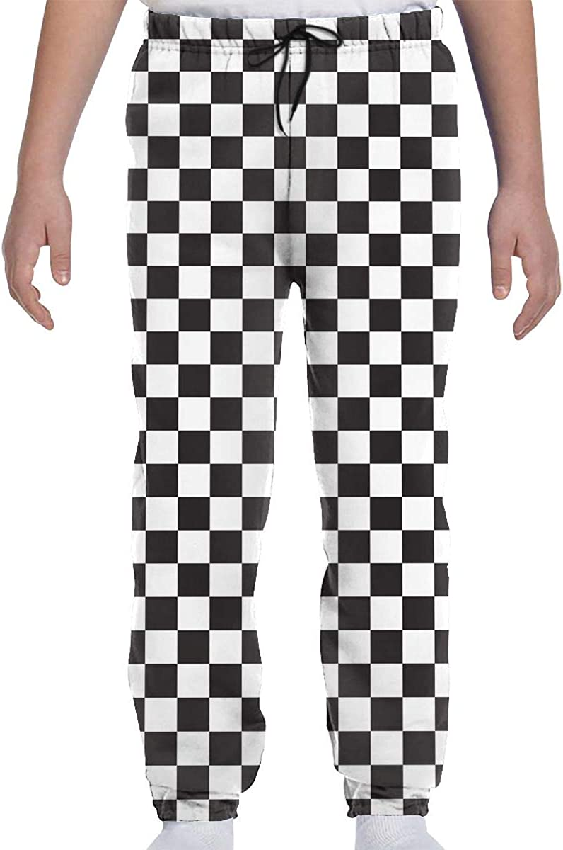 JASMODER Black White Race Checkered Flag Youth Sweatpants Joggers Pants Casual Sports Trousers with Pockets