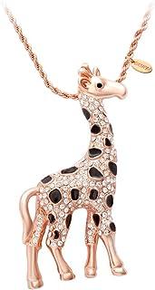 SENFAI Giraffe Deer Pretty Black Enamel Crystal Sweater Pendant Necklace Three Color