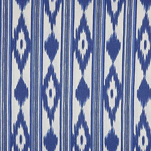 Kt KILOtela Tela de loneta resinada - para mantelería Antimanchas, Cojines, Bolsos - Retal de 150 cm Largo x 140 cm Ancho   Lenguas Mallorquinas - Azul, Blanco ─ 1,5 Metros