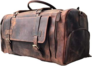 Sponsored Ad - 22 Inch Genuine Leather Duffel Bag Overnight Travel Weekend Sports Gym Cabin Carryon With Shoe Compartment ...