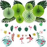Easy Joy Sommer Party Deko Tropische Blätter Flamingo Girlande Hawaii Papier Laternen Grüne Party Dekoration