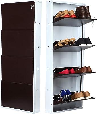 PAffy™ Powder Coated 4 Door Steel Shoe Rack - White & Brown