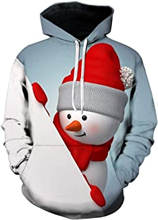 DBSCD Fashion Clothing,Mens Sweater Christmas Hoodie Autumn Winter Snow Men 3D Print Long Sleeve Hooded Sweatershirt Top Blouse