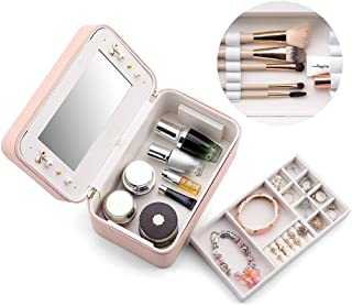 Vlando 2 in 1 Travel Accessories Mirror Makeup Bag with Travel Jewelry Organizer for Makeup, Earrings & Necklaces-Pink