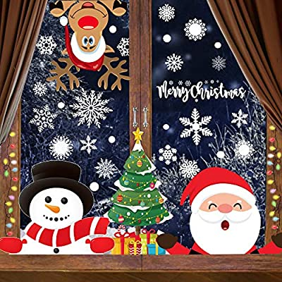 Christmas Clings for Windows 300PCS Christmas Window Decals Christmas Window Clings Xmas Santa Window Clings Stickers for Glass Windows Decorations