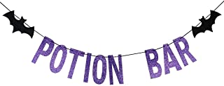 Purple Glittery Potion Bar Banner for Halloween Party Decoration Supplies Mantle Home Decorations