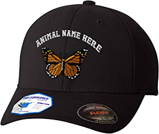 Custom Flexfit Baseball Cap Monarch Butterfly Embroidery Animal Name Polyester