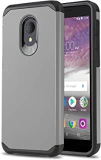 Phone Case for [ALCATEL TCL LX (A502DL)], [DuoTEK Series][Gray] Shockproof Cover [Impact Resistant][Defender] for Alcatel TCL LX (Tracfone, Simple Mobile, Straight Talk, Total Wireless)