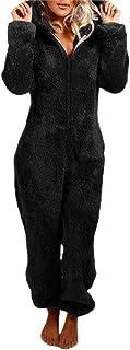 Pijama MujerEntero de Una Pieza, Pijama Hombre Invierno de Forro Polar, Pijama Mono con Capucha, Regalos para Hombre y Ado...