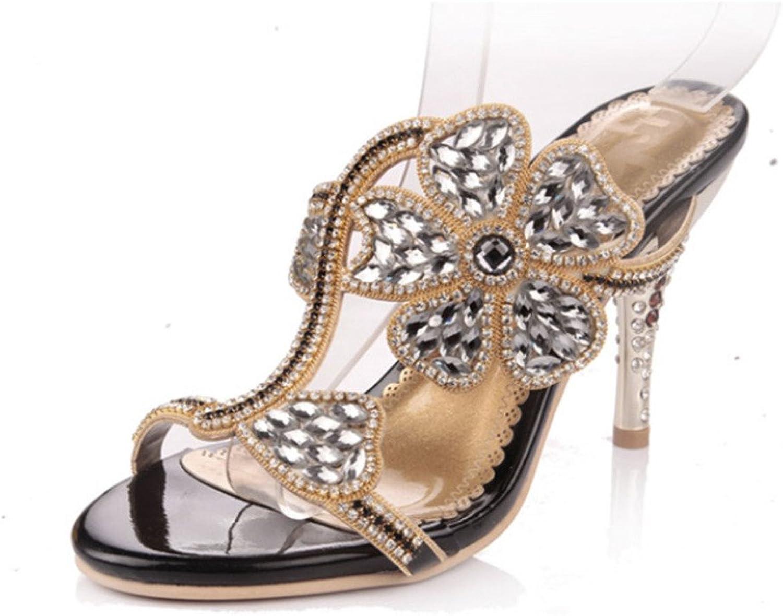 Monie Women's Handmade Floral Shape Patterned Bridal Dress Sandals Crystal Stiletto Heels
