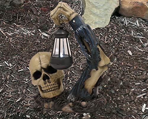 Ebros Caribbean Pirate Captain Hook Skull With Solar Powered Lantern LED Light Patio Decor Figurine Statue