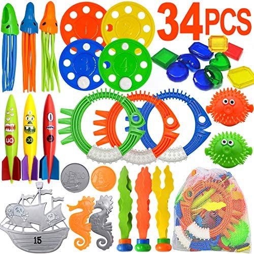 Scientoy Diving Pool Toys 34 PCS Pool Toys for Teens Adults Underwater Swimming Games with Pool product image