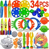 Scientoy Diving Pool Toys, 34 PCS Pool Toys for Teens&Adults Underwater Swimming Games with Pool Torpedo, Diving Rings,...