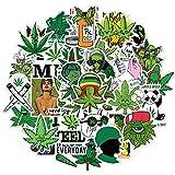 Coole Unkraut Aufkleber 50 Stück, wasserdichte Marihuana Weed Aufkleber für Erwachsene Vinyl Laptop Aufkleber Aufkleber für iPad, Wasserflaschen, Handyhülle, Skateboard, Auto...