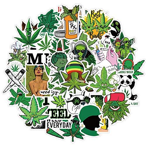 Pegatinas de malas hierbas, Weed Stickers 100 unidades, impermeables, Marihuana Weed, para adultos, vinilo para portátiles, pegatinas