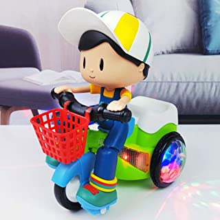 Mopoq Children's Resistance Stunt Electric Tricycle Rechargeable Toy Car Lighting Effect 360 ° Rotating Men And Women Baby...