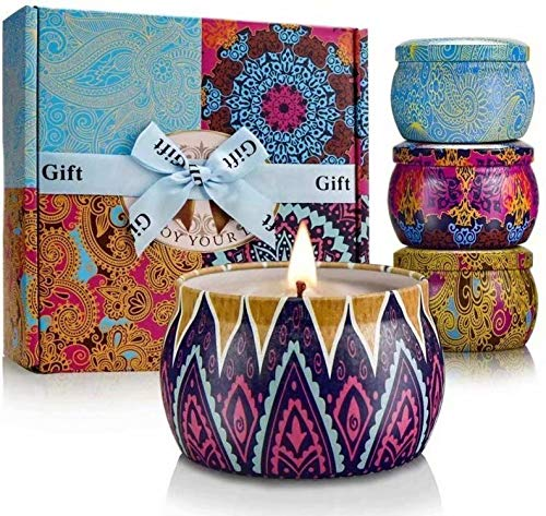 Aromatherapy Candles,Scented Candles, Highly Scented and Long Burning Portable Travel Tin Candles, Natural Organic Soy Wax with Pure Essential Oil for Stress Relief Relaxation, Gift Baskets for Women