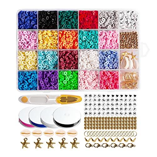 Reliaseren 4800 Perline Fai da Te Kit 24 Colori Ambientale Fatti A Mano Dell'argilla del Polimero del Distanziatore Misto Shell Stelle Marine Lettera Braccialetti della Collana di Arte del Mestiere