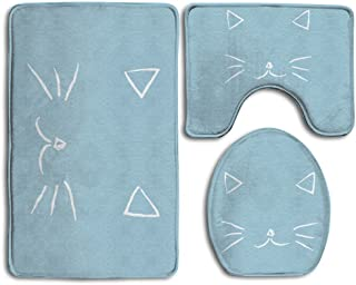 Bath Mat,3 Piece Bathroom Rug Set,Cartoon Cat Flannel Non Slip Toilet Seat Cover Set,Large Contour Mat,Lid Cover For Men/Women