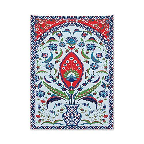 ABAKUHAUS Turkse Patroon Wandtapijt, Plant in een Vaas, Stoffen Muurdecoratie voor Woonkamer Slaapkamer Slaapzaa, 110 x 150 cm, Blue Green Scarlet