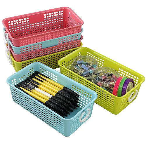 Cadine - Cesta de almacenamiento de plástico rectangular pequeña, paquete de 6