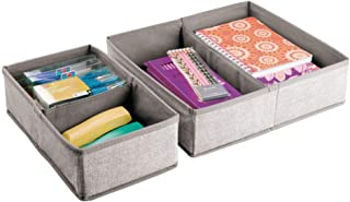 mDesign lot de 2 – boîte de rangement avec respectivement 4 compartiments – grand panier de rangement idéal pour vos stylo...