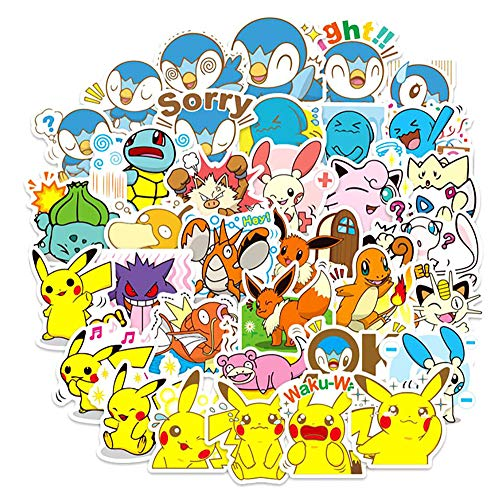 Anime Stickers Comic Pokemon Stickers Best Gift for Kids Teens Children (80pcs) Cartoon Stickers Pack for Home Decor Diary Hydro Flasks Water Bottle Luggage Computer Skateboard Laptop Etc.