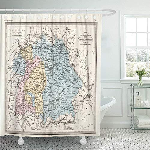 Luancrop Duschvorhang wasserdicht München antike Karte von Bayern Deutschland alte Vintage Alpen Kartographie Diagramm Europa Home Decor Polyester Stoff Verstellbarer Haken