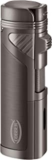 Cobber Torch Cigar Lighter, Quad 4 Jet Red Flame Refillable Butane Cigar Lighter with Punch, Gunmetal Gray