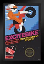 Pyramid America Excitebike Nintendo NES Video Game Gaming Black Wood Framed Poster 14x20