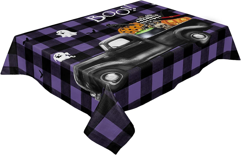 Ranking TOP11 LooPoP free shipping Halloween Truck Pumpkin Purple Tablecloth Ghost Lattice