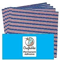 Craftables アメリカ国旗パターン 自己粘着クラフトビニールプリントシート プレミアム転写テープ付き クリカット、シルエット、カメオ、デカール、サイン、ステッカー用
