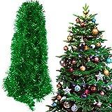 BHGT 6 Tiras Espumillón de Navidad 12Metros Guirnaldas Colgantes árbol de Navidad Adornos Navideños Manualidades Decoración Fiesta Verde