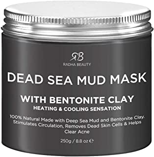 Radha Beauty Dead Sea Mud Mask with Bentonite Clay for Face & Body 8.8 oz - 100% Natural Formula to Treat Acne, Pores, Bla...