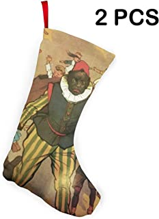 Liumong Sinterklaas and Zwarte Piet Vintage Christmas Stockings Xmas Socks Ornament Themed 12 Inch Two Piece Big Pair Design Empty Women Men Country Decorations Modern