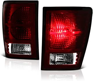VIPMOTOZ Smoke Red Lens OE-Style Tail Light Lamp Assembly For 2007-2010 Jeep Grand Cherokee, Driver & Passenger Side