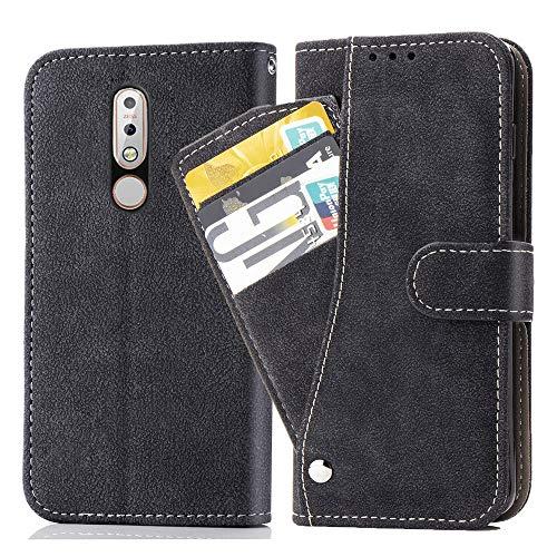 Asuwish Nokia 7.1 Hülle,Leder Lederhüllen klappbar Schutzhülle Wallet Hülle Mit Kartenfach Ständer Stand Dünn Stoßfest HardWallet Hülle Panzerglas + Handyhülle für Nokia 7.1 Schwarz