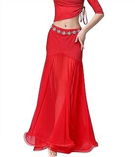 Women's Ballroom Dance Skirt Glitter Tulle Fishtail Long Swing Flamenco Belly Dance Skirt with Shorts