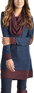 Jumojufol Women's Vintage Piles Collar Ruched Patchwork Tunic Shift Dress