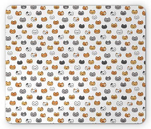 Mausepad Kätzchen Muster Von Cartoon Katzen Verschiedene Rassen Farben Mit Lächelnden Gesichtern Ingwer Senf Grau Rechteck Computerspiel Rutschfeste Bequeme Mausmatte Angepasst 25
