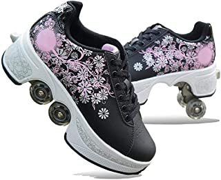 Kids Roller Skate Shoes Removable Multifunctional Deformation Quad Outdoor, Safe And Comfort, Fitness, Strong Front Brakes, Very Stable And Easy To Learn