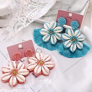 Big Tassel Shell Hand-Woven Rice Beads Earrings