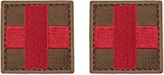 yisibo 2pcs Medic Red Cross First Aid Morale Patch - Perfect for IFAK Rip Away Pouch, EMT, EMS, Trauma, Medical, Paramedic, First Response Rescue (Square, Red Cross-Coyote Brown)